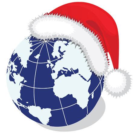 Globe with Santa's hat. Vector illustration Stock Vector - 3660377