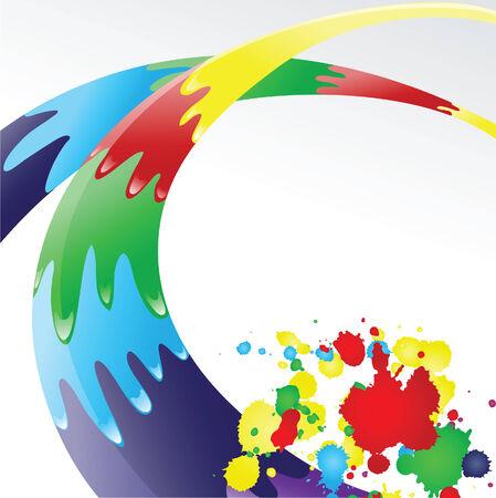 ink jet: Color ink splashes.   Vector illustration