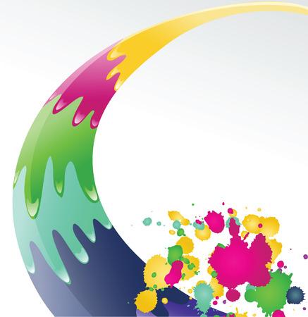 Color ink splashes.   Vector illustration