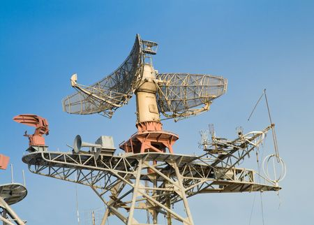 superstructure: Radar and communication system on military ship