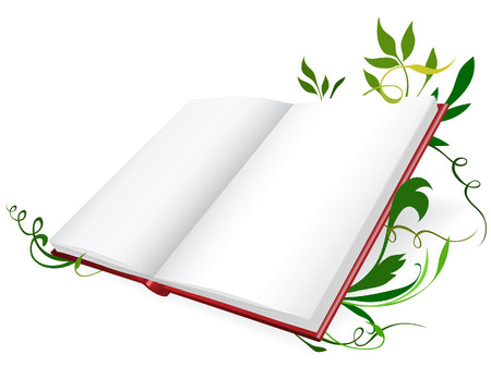Opened diary on floral backgraund. Vector illustration Vector