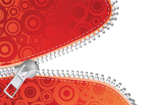 unbuttoned: Red detailed zipper. Vector illustration Illustration