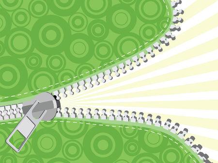 undressing: Green detailed zipper. Vector illustration Illustration