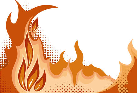 moire: Halftone background - Fire. Vector illustration