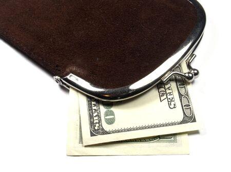 Purse with money photo