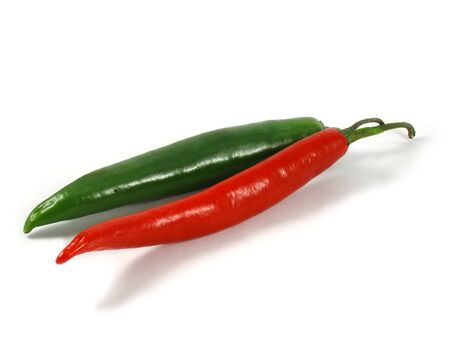 reg: Reg and green chili peppers Stock Photo