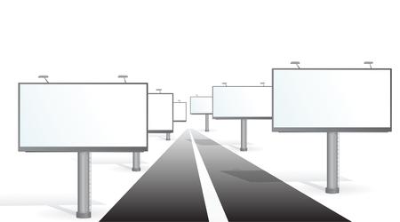 buildup: A billboards near a road. Vector illustration Illustration