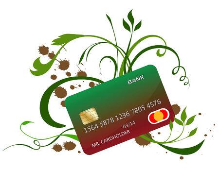 cardholder: Credit card on floral background. Vector illustration