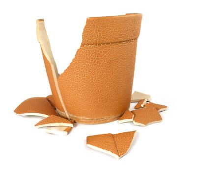 The broken flowerpot on white background Stock Photo