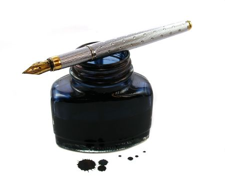 ink well: Ink and pen