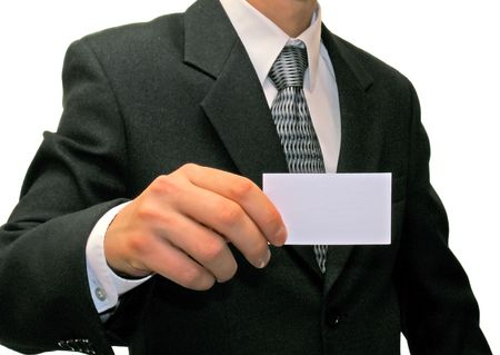 Man in suit with visiting card       photo
