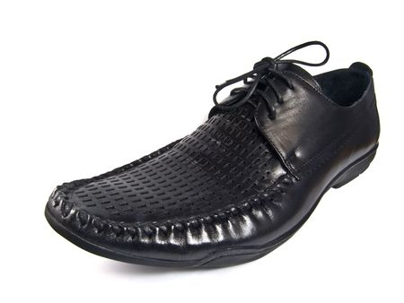 Black male shoe isolated on the white photo
