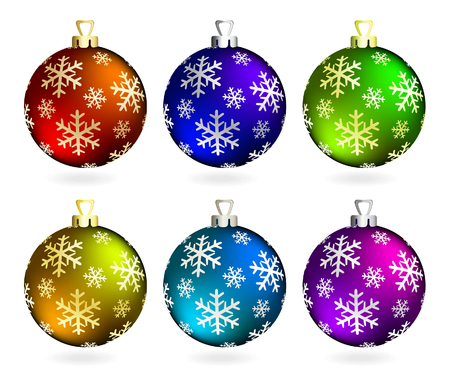 violet red: Collection of Christmas balls on white. Vector illustration