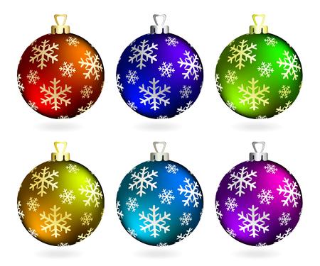 Verzameling van Kerstmis ballen op wit. Vector illustration