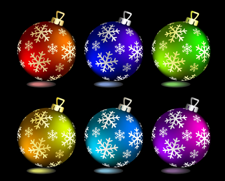 Collection of Christmas balls on black. Vector illustration Vector