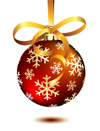 lustre: Red Christmas ball on white. Vector illustration