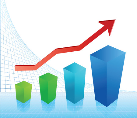 Business concept: rise of profit. Vector illustration Vector