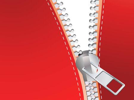 unzipped: Red detailed zipper. Vector illustration Illustration