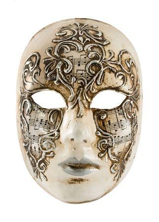 maschera tribale: Antica maschera veneziana isolata on white