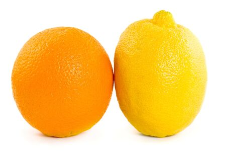 vitamines: Orange and lemon on white background