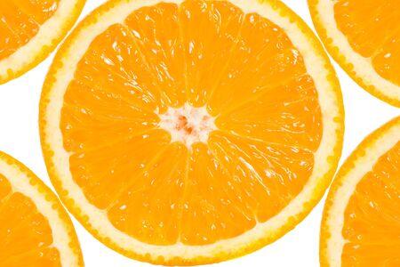 gustatory: Slices of range fruit on white