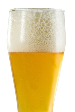 beerglass: Glass of light beer with foam isolated on white background