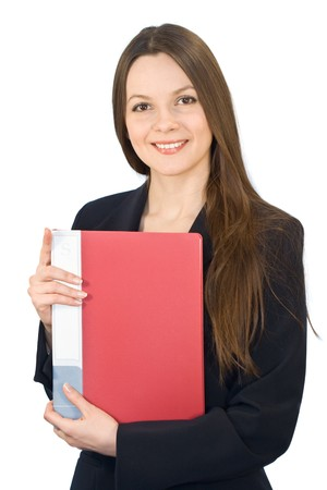 Young smiling woman in a business suit with a folder in hands. Isolated on white background Stock Photo - 3960918