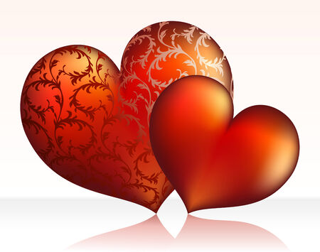 St. valentine's concept: two hearts. Vector illustration Stock Vector - 3990423