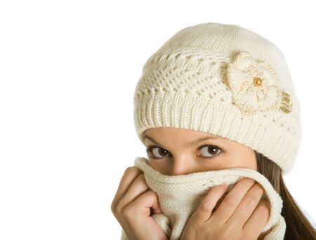 The woman sick of a flu isolated on white background photo