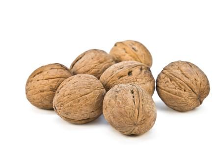 circassian: Circassian walnuts isolated on white background Stock Photo
