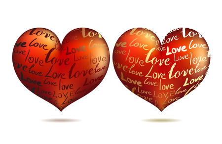St. valentine's concept: Two hearts. Vector illustration Stock Vector - 3990496