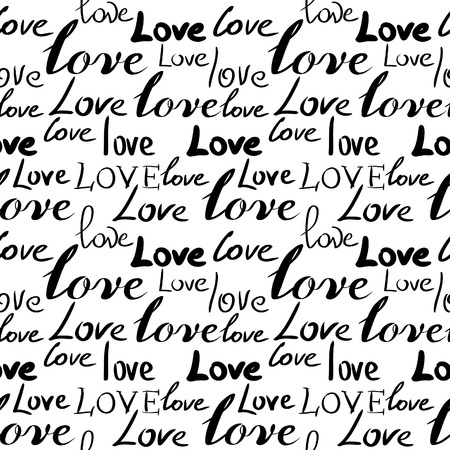 heart seamless pattern: Seamless background with words Love. Vector illustration