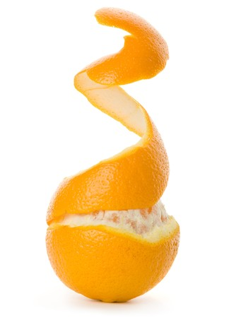 Peel of an orange isolated on white background