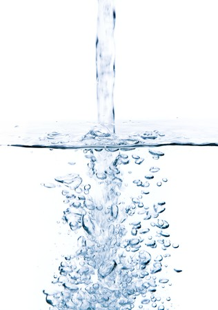 pouring water: Crystal-clear flowing water. Isolated on white background