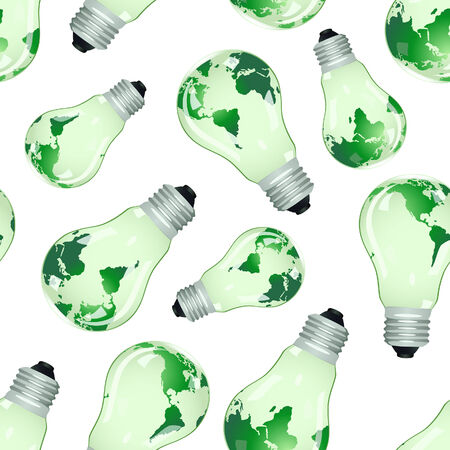 protecting: Seamless background from electric bulbs with maps. Vector illustration Illustration