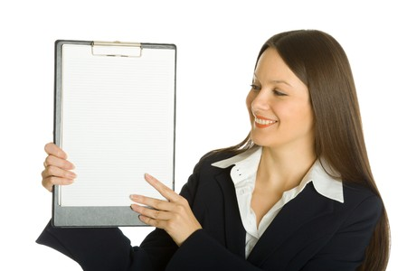Buisiness woman holding a blank clipboard. Isolated on white background photo