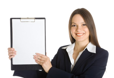 Business woman holding a blank clipboard. Isolated on white background photo