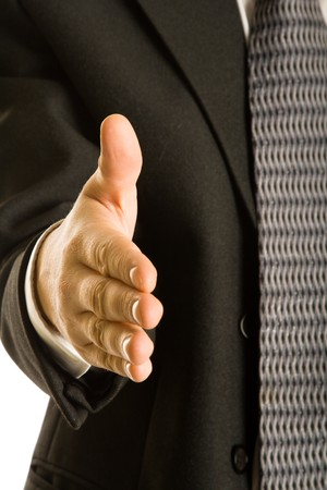 A business handshake. Isolated on white background Stock Photo - 4171477