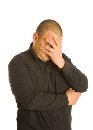 crisis economica: La crisis econ�mica concepto: tristeza empresario. Aislado sobre fondo blanco Foto de archivo