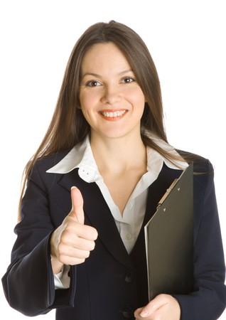 secretaria: Una hermosa celebraci�n de una empresaria portapapeles. Aislado sobre fondo blanco Foto de archivo