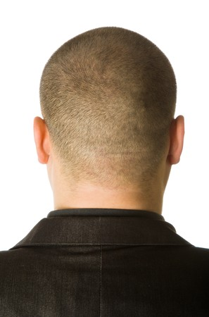'head and shoulders': Back of male head. Isolated on white background