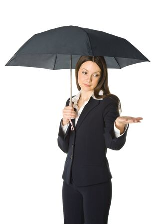 Portrait of a beautiful business woman holding a umbrella. Isolated on white background photo