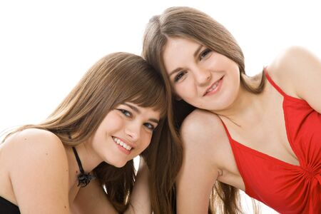 Two young girlfriends isolated on white background Stock Photo - 4540837