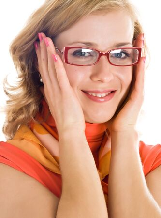 neckcloth: Young blond woman with glasses in hand. Isolated on white background