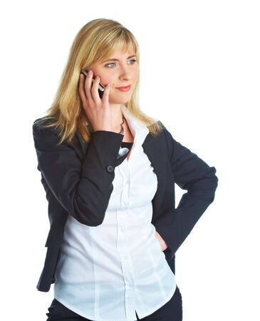Young business woman with mobile phone. Isolated on white background photo