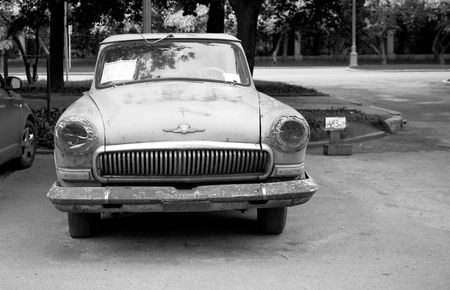 Old Russian car (Volga). Black and white photo photo