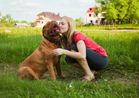 Young girl and her dog (French mastiff, Dogue de Bordeaux) photo