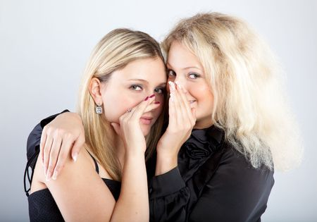 Two happy young girlfriends telling secret  Stock Photo - 5106603