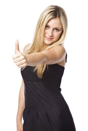Attractive young blond woman with thumb up with a laughing expression. Isolated on white background Stock Photo - 5184198