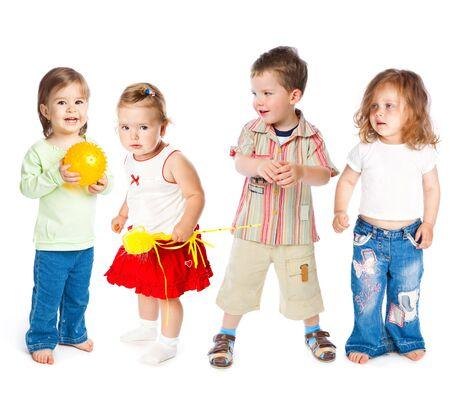 Groep van kleine kinderen. Isolated on white background